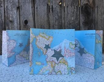 3 Vintage World Map Paper Luminaries