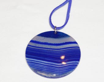 "1.75"" Blue Agate Pendant, Natural Gemstone Jewelry, Blue Cord Necklace, Striped Agate Jewelry,  Free Shipping"