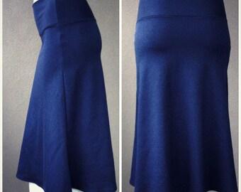 Organic cotton tulip skirt, any length, any color, handmade organic clothing, navy blue skirt, organic skirt