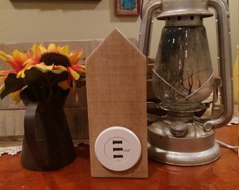"""Phone Charger """"House"""" - USB Charger - Wood Charging Station"""