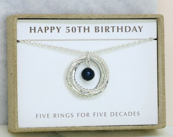 50th birthday gift, June birthstone necklace 50th, black pearl necklace for 50th birthday - Lilia