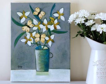 Grey Painting,  Yellow Butterfly, Peruvian Lily, Still Life, Nature Mort, Lily Art, Blue Vase, Green Vase, White Flowers