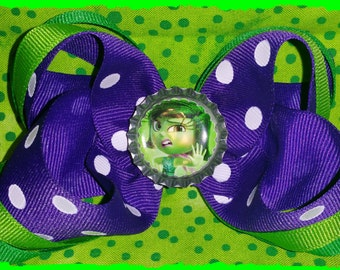 Inside out Disgust 6in Boutique Hair bow, Green and Purple Hair Bow
