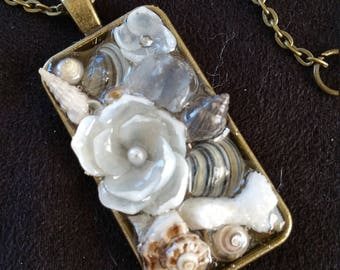 Sailors Valentine inspired Rectangle PENDANT Shellflower Garden Design (Grey Black & Pearl)