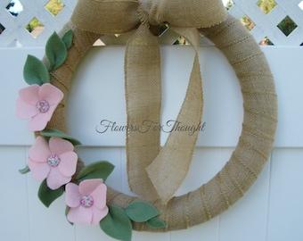 Pink Felt Flower Wreath, Burlap Front door decoration, rustic Fall wreath Home Decor