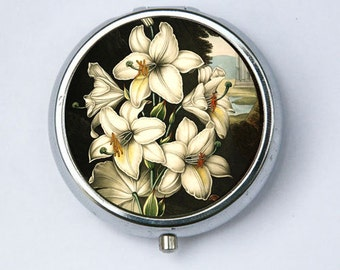 White Lily Lilies Flower Pill Case pillbox holder botanical
