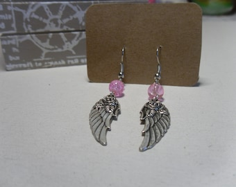 Pink Pearl rose wing charm earring