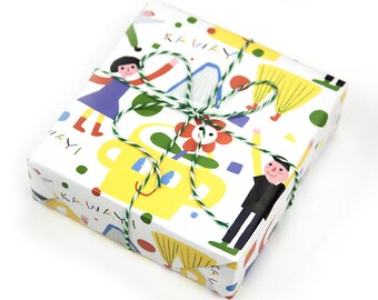 Childish Wrapping Paper,Wedding Gift Wrap,Illustration Wrapping Sheets,Children's Gift
