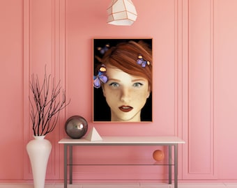 DIGITAL DOWNLOAD Artwork, wall decor- Freckles and Butterflies
