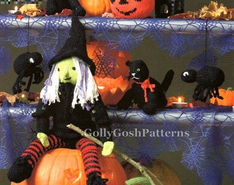 Instant Download PDF Knitting Pattern - Halloween Knits - Pumpkin-Witch-Cat-Spider