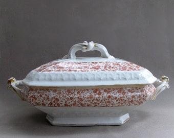 Antique Limoges White Pink Flowered Tureen Bawo & Dotter Pre-Elite