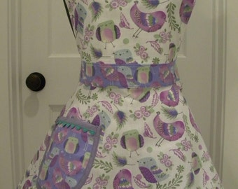 Womens Apron-PLUS SIZE All Over Purple Birdies-Full Sweetheart Apron
