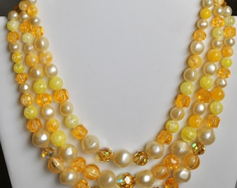 Triple Strand Pearl & Yellow Bead Necklace