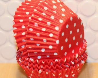 Red Polka Dot Cupcake Liners  (Qty 45) Red Polka Dot Baking Cups, Red Cupcake Liners, Red Baking Cups, Red Muffin Cups, Cupcake Liners