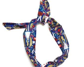 Alice in Wonderland Navy Wire Headband, Rifle Paper Co. Fabric Headband, Adjustable Headband, Bandana Headband, Turban Hair Wrap