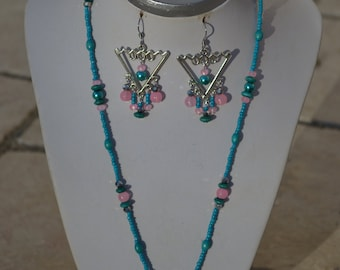 set turquoise blue and pink