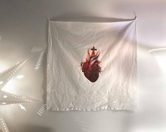 The Sacred Heart - print on white linen