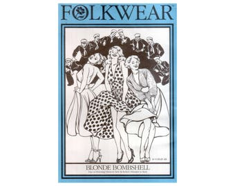 80s Uncut Folkwear Blond Bombshell vintage SM-M-LG 44-36-46 Plus size Halter Dress pattern Fit and Flare Dress Marilyn Monroe Folkwear 239