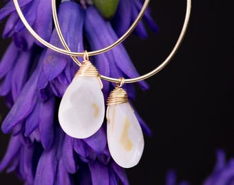 Mother of Pearl Briolette Gold Hoop Earrings - Gold Plated Brass - Hypoallergenic - Nickel Free - Lead Free