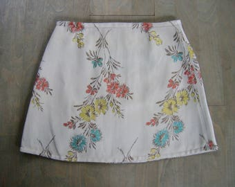 French Curtain Skirt, A-line skirt, upcycled cotton brocade curtain, flower mini skirt, beige blue red yellow brown, size Extra Small