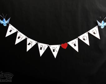 Tattoo Swallows Thank You Bunting Wedding Decoration Rockabilly Party Sign