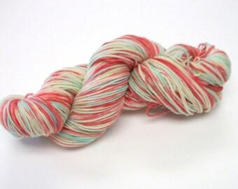 Hand dyed yarn, superwash merino dk weight 300 yds.