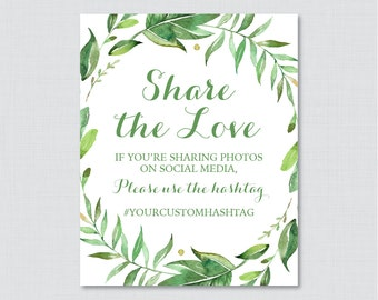 Green Bridal Shower Hashtag Sign Printable - Bridal Shower Social Media Hashtag Sign - Personalized Share the Love Sign Green Wreath 0021
