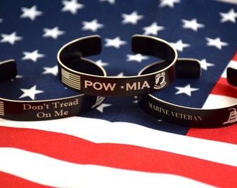 Memorial Bracelet / Military / WWNF / In memory of / Dont Tread On Me / POW MIA Bracelet / Honor the Fallen/ Military Kia / Fathea Day / kia