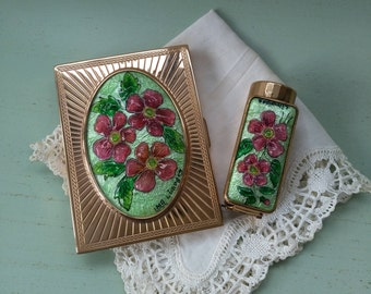 Compact and enamels from Limoges Paris vintage guilloche gold metal lipstick holder. Collectibles. Compact lipstick case / mirror