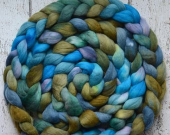Corriedale 'Water Nymph' 4 oz hand dyed combed top, spinning fiber, wool roving for spinning, Created by ElsieB hand dyed fiber, blue, green