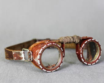 Mad Max Cosplay - Burning Man Goggles - Road Warrior - Round Googles - Rusted Eyes Protection - Bikers Goggles - Burning Man Glasses