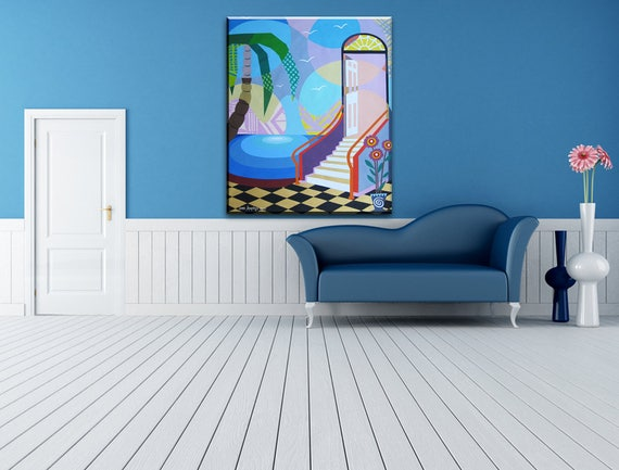 Large Wall Art Stairway to Heaven, Geometric Wall Art, Large Abstract Painting, Original Abstract Painting, Abstract Landscape