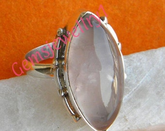 Rose Quartz ring, Sterling Silver Ring, Silver Ring, Gemstone Ring, Rose Quartz Stone, Ring Size 5 6 7 8 9 10 11 12 13 14 -0115100125