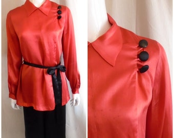 Vintage 1920s Silk Pajamas Asian Inspired Art Deco Red and Black Large