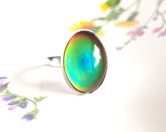 Adjustable Mood Ring in Sterling Silver, Color Changing Stone