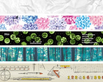 mt limited edition washi masking tape - volume 4 - wrinkles, hydrangea, volvox - green algae, forest border, measuring things - 15mm x 7m