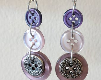 Tri-tone Purples Dangle Earrings Made from Buttons