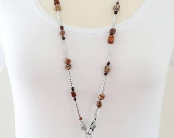 Long Gemstone Necklace,  Red Tiger Eye Necklace, Gemstone Lariat, Jasper Necklace, Tiger Eye Necklace, Long Jasper Necklace, Jasper Lariat