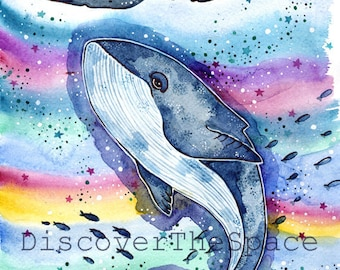 Watercolor Whale Print Kids Room Sea Creature Print Whale Watercolor Painting Whale Nursery Decor