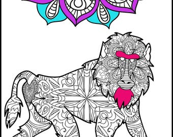 Baboon - Adult Coloring Pages - Coloring Page for Adults - Animal Coloring Page - Unique Gift  -Coloring Page -Animal Lovers Coloring Page