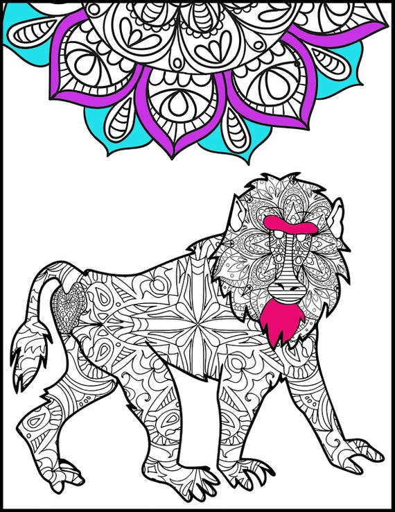 Baboon   Adult Coloring Pages   Coloring Page For Adults   Animal Coloring  Page   Unique Gift  Coloring Page  Animal Lovers Coloring Page From ...