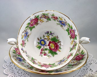 Royal Stafford Soup Bowl & Saucer, Rochester, Floral Pattern, Bone English China made in 1960s