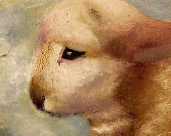 Baby farm animal lamb Christian nursury original oil painting