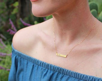 Gold Birthstone Bar Necklace Stamped with Blessed. Personalized Gold Bar Necklace, Bar Necklace with Birthstones. Custom Necklace for Mom!