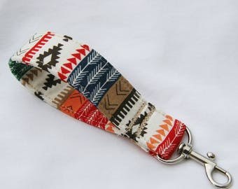 Southwest- Aztec-Tribal Stripe-Green Orange Black Red White Key Fob