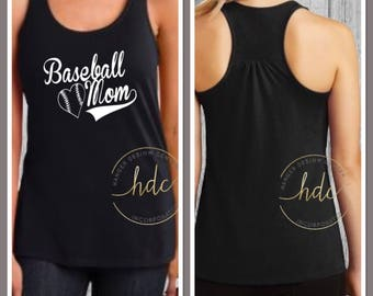 Baseball Mom Shirt/Mom Baseball Tank/Mom Shirt/Mom Life/Baseball Shirt/Girls Baseball Shirt/Racer Back Tank Top