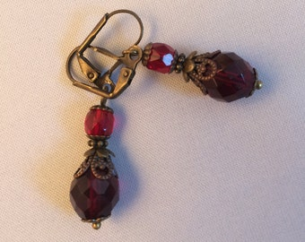 Garnet glass earrings - January birthstone - Vintage gothic style - Red Czech glass - Bronze earrings - Victorian steampunk - Birthday gift