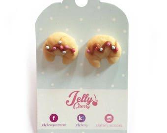 kawaii croissant Earrings / cute jewelry / sweet lolita style / jelly cherry accesorios
