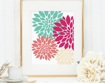 Flower print, printable wall art decor, bold colorful abstract pink cream coral teal floral art, floral art (Instant digital download - JPG)