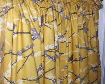Set of cafe curtains using Joel Dewberry Aviary 2 in vintage yellow and gray